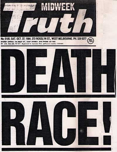Truth newspaper front page with headline 'Death Race!'